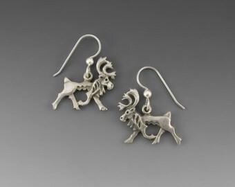 Pewter Caribou Hook Earrings
