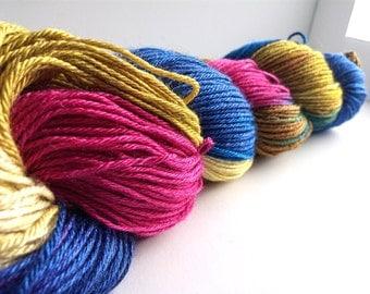 "Handpainted hand dyed Sock Yarn Shawl Yarn Superwash Merino/Silk 50/50 437yds 100g ""Grandmother's Garden"""