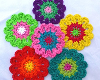 Crochet Colourful Flowers Doilies Embellishments Home decor Table decoration Coasters-set of 6 (No.10)