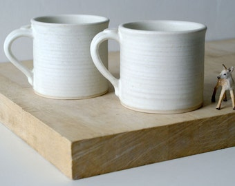Two straight sided mugs - hand thrown stoneware in vanilla cream