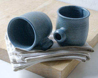 Two tulip shaped mugs - hand thrown stoneware glazed in smokey blue