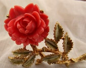 Large Vintage Pin With Rose