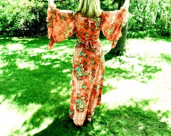 SALE!  Vintage 1970's Butterfly Sleeve Maxi Dress - Coral Floral