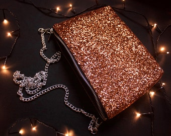 The Phoenix bag, gold, bronze, orange glitter. Evening bag, prom purse, wedding clutch
