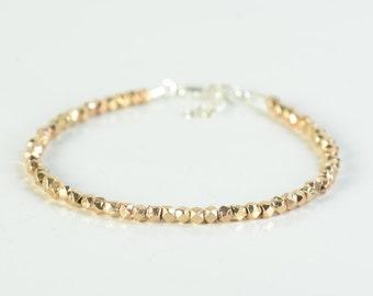Sterling silver rose gold beads bracelet Silver Thread Bracelet, Friendship Bracelet, Sterling Silver Friendship Rose Bracelet