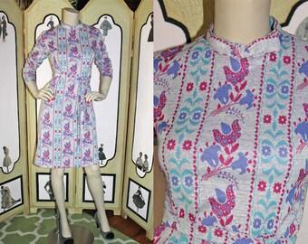 Vintage 60's/70's Floral Long Sleeve Winter Dress with Belt.