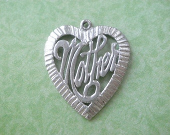 Vintage STERLING Silver MOTHER Heart CHARM Rhodium Plated