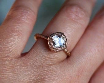 Genuine White Topaz 14K Gold Ring, Gemstone Ring, Cushion Shape Ring, Eco Friendly, Engagement Ring, Stacking Ring, Recycled - Made To Order