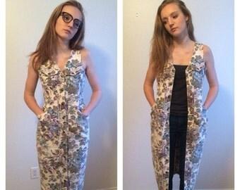 Summer Sale Floral Jean Dress, Button Down Dress, Jean Midi Dress, Long Denim Dress, Long Vest, Small Medium Dress Floral Denim Hipster 90s