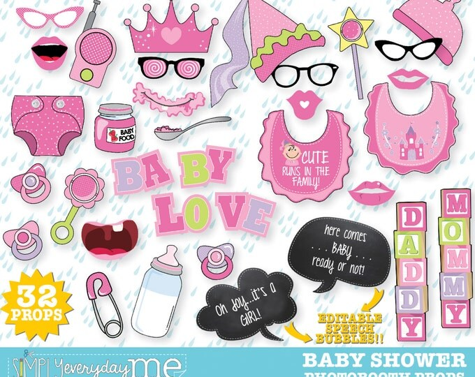 Baby Shower Photo Booth Props - Oh Baby, Reveal Baby Shower, Bun in the Oven  - Instant Download PDF - 32 DIY Printable Props
