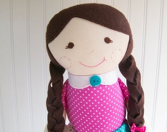 Rag Doll Brunette Cloth Doll Brown Eyes Pink Turquoise Ready to Ship