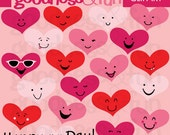 Buy 2, Get 1 FREE - Happy Hearts Valentine's Day Clipart - Digital Valentine's Day Clipart - Instant Download