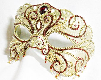 Gold, Ruby and Pearl Masquerade Mask - Ball Mask - Venetian Mask - Wedding Mask - Masquerade Mask - Gold Mask - Pearl Mask - Ruby Mask