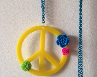 Peace Sign Necklace with Plastic Flowers, on Teal Blue Chain, Statement Necklace, Hippie Jewelry