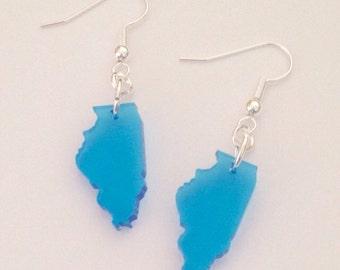 Small Illinois Earrings, Laser-cut Light Blue Acrylic State Jewelry, Lasercut Earrings, Dangle Earrings