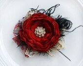 Deep Red Black and Gold Hair Flower