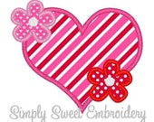 Flower Heart Machine Embroidery Applique Design