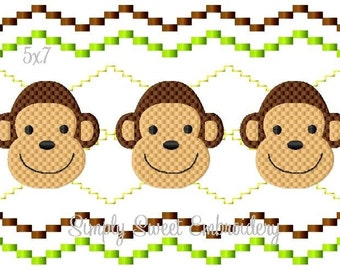 Boy Monkey Faux Smocking Machine Embroidery Design