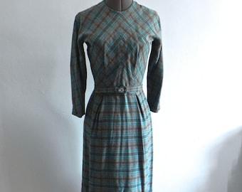 Vintage 1950s Wiggle Dress - 50s Blue and Black Tartan Fitted Winter Dress XSM SM