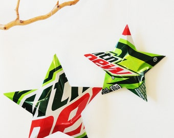 HUGE Mtn Dew, Mountain Dew Stars, Christmas Ornaments Aluminum Can Upcycled, Set of 2