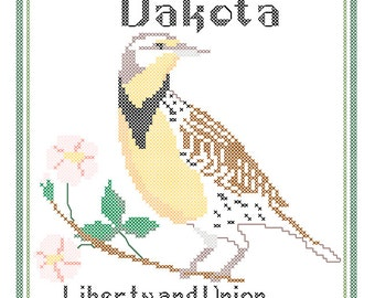 North Dakota State Bird, Flower and Motto Cross Stitch Pattern PDF