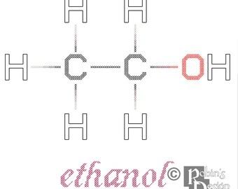 Ethanol Molecule Cross Stitch Pattern PDF