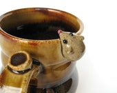 Rufus, the mouse mug in reddish brown and tan, IN STOCK