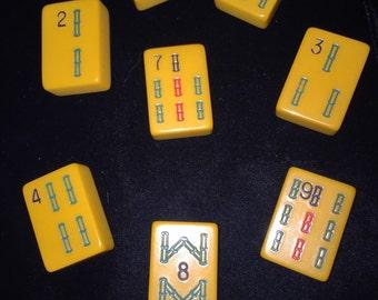 8 Butterscotch Bakelite Mahjong Tiles with Bamboo Pattern