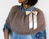 Mohair Poncho, Mocha Brown Cape, Thick Knit Shrug, Cafe Au Lait Poncho Christmas Gift , Warm Winter Cover-up