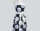 Classic Bib Apron / Large White and Black Floral Classic Vintage Style Apron Ideal Gift for her to Personalize or Monogram for Gifting