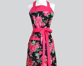 Full Bib Womens Aprons - Cute Retro Womans Kitchen Cooking Apron in Vintage Pink and Black Floral Chef Hostess Womens Aprons Personalize