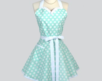 Sweetheart Womens Retro Apron - Mint Blue Polka Dot Cute and Flirty Vintage Style Pin Up Kitchen Woman Apron or Wedding Bridal Gift Apron