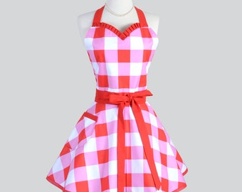 Sweetheart Retro Womans Apron - Cute Kitchen Cooking Apron in Vintage Large Red and Pink Gingham Check Flirty Full Pinup Womens Aprons