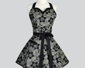 Sweetheart Retro Womans Apron - Flirty Elegant Vintage Hostess Black and Bronze Floral Handmade Full Cute Kitchen Cooking Womens Aprons