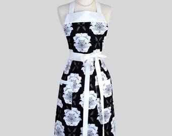 Classic Bib Apron / Large White and Black Floral Kitchen Apron Ideal Gift for her to Personalize or Monogram for Gifting