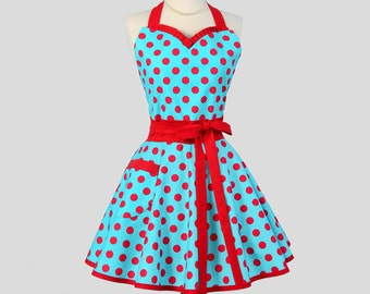 Sweetheart Apron - Retro Pinup Style Vintage Teal and Red Polka Dot Flirty Full Cute Womens Handmade Kitchen Cooking Hostess Womens Aprons