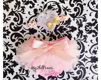 BABY BLOOMER and HEADBAND Set-Ruffle Bum Baby Bloomer,mint tutu bum ,Pink, white and Gold ,newborn bloomer,baby girl photo prop-my2lilpixies