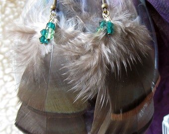 Green Crystal Turkey Feather Earrings
