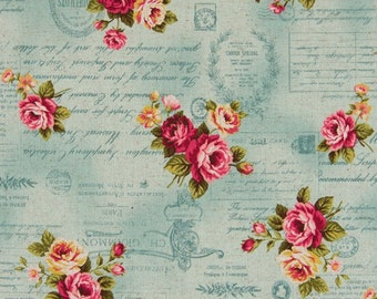Cosmo Cotton Linen Fabric Vintage Postcard Images AP51303-1c on Blue