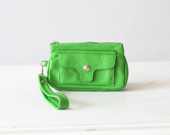 Zipper wallet light green leather women, wristlet wallet phone case wallet  purse clutch wallet - Thalia Wallet