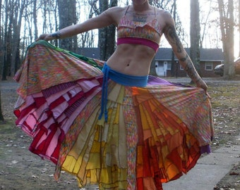 CUSTOM ORDER DEPOSIT Scrappy Patchwork Cotton Maxi Twirl Skirt