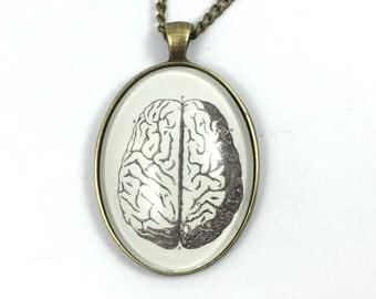 Brain Necklace - Vintage Anatomy Book