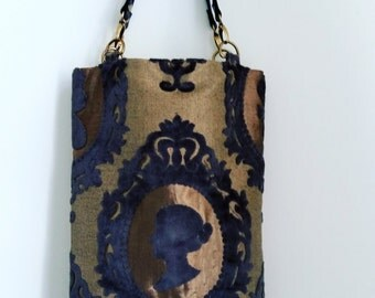 Cameo tote bag with leather straps, Cameo handbag,  by Nobel King, Brass black tote bag