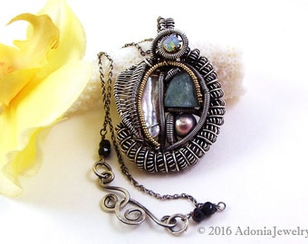 Abstract Wire Wrap Pendant - Wire Art Jewelry - Opal, Amazonite, Pearl - Adonia Jewelry