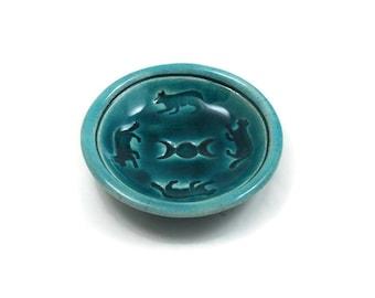 CAT MOON Offering bowl Handmade Raku Pottery