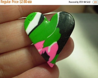 50% OFF - sale - sale - sale - FRESH HEARTS - 6 Polymer Clay Beads