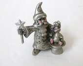 Pewter Wizard with Star Wand..Magician with Rabbit and Hat..Hudson 1982