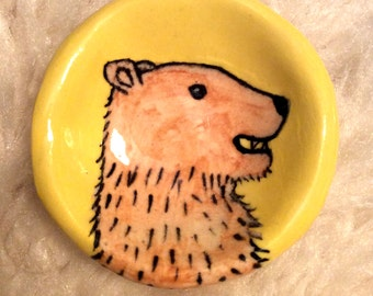 Bear on Yellow -- Hand Painted Pinch Pot by Lora Shelley