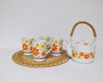 Vintage Flower Power Teapot and Pedestal Mugs Set