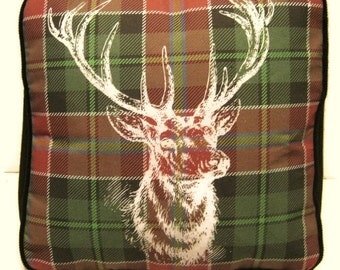 Stag and Tartan Printed Fabric Pouffe Footrest Floor Cushion Pouff Black Corduroy